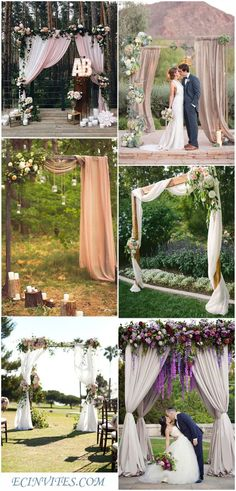 Fabrics Themed Outdoor Wedding Arch Ideas