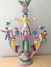"""Vintage Mexican Pottery Candelabra Folk Art  Sold """"as Is"""""""