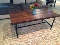 "($499) 100+Year Old Reclaimed Pine Coffee Table With 3/4"" Steel Pipe Legs"