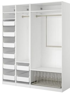 Want an organized way to break out your summer wardrobe? The Pax closet system from Ikea makes the transition from coats to tank tops easy! Wood Closet Shelves, Closet Storage, Closet Organization, Organization Ideas, Storage Drawers, Basket Drawers, Open Shelves, Master Closet, Closet Bedroom