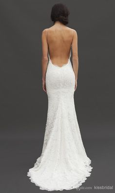 Wholesale 2014 Wedding Dresses - Buy 2014 Perfect Bridal Gowns Spaghetti Straps Backless Mermaid Appliqued Court Train Lace Wedding Dresses,...
