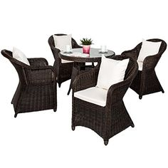 TecTake High quality weatherproof aluminium frame poly rattan wicker garden furniture set 4x chair 1x table   8 chushions - brown