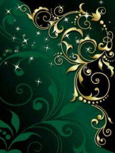 By Artist Unknown. Arte Floral, Motif Floral, Green Wallpaper, Flower Wallpaper, Attractive Wallpapers, Love Wallpapers Romantic, Arabesque, Gold Art, Chalk Art