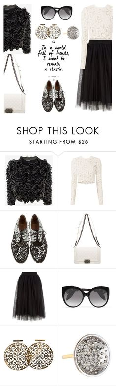 """""""Ode to b&w"""" by pensivepeacock ❤ liked on Polyvore featuring Alexander McQueen, A.L.C., Givenchy, Chanel and Alexis Bittar"""