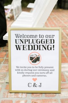 """Love this idea of an """"unplugged wedding."""""""