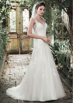 Elegant Tulle Queen Anne Neckline A-line Wedding Dress With Sequined Lace Appliques