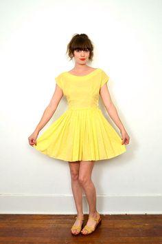 1950s bright yellow mini dress // simple sun dress by SpanoVintage, $52.00