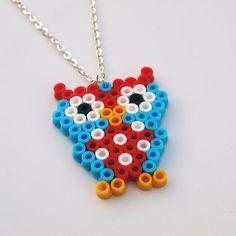 Owl Pixel perler bead Necklace by RetroidStudion