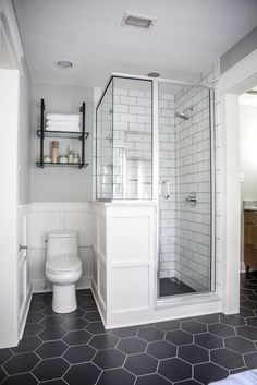 A Master Bathroom Renovation - Magnolia Market Flip the design-leaving things where they are...or keep like this and add a sliding door by the toilet to close bathroom.