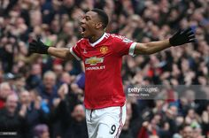 Anthony Martial of Manchester United celebrates scoring their first goal during the Barclays Premier League match between Manchester United and Leicester City at Old Trafford on May 1, 2016 in Manchester, England.