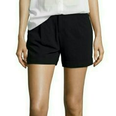 """Haute Hippie Cuff Shorts in Black Like new! Super soft and almost silky like shorts, perfect to stay chic and cool during summer. Decisive front pleats and rolled hems give crinkled shorts uptown structural sophistication. 4 1/2"""" inseam (size 6). Zip fly with button closure. Side-seam pockets; back welt pockets. Lined. 60% triacetate, 40% polyethylene. Retails for $225. Color is black Haute Hippie Shorts"""