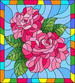 Illustration in stained glass style with flowers and leaves of rose on blue background in a bright a frame — Stok İllüstrasyon #152384568