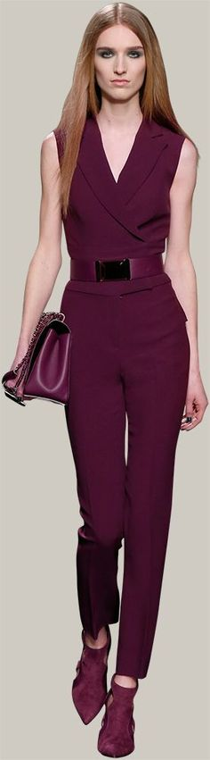 violet jumpsuit ELIE SAAB -  @roressclothes closet ideas women fashion outfit clothing style  - Fall Winter 2014-2015: