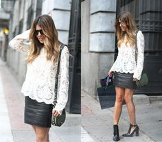 Leather and Lace top creates a perfect contrast