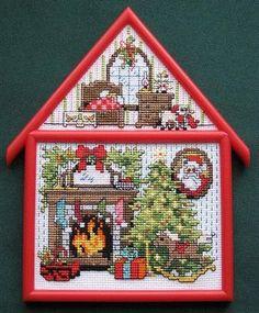 Christmas Cottage Hutch Designer: Jorja Hernandez Bucilla kit 18 count Aida, frame included Size: 4 in x 6 in. Cross Stitch House, Xmas Cross Stitch, Beaded Cross Stitch, Cross Stitch Borders, Crochet Cross, Cross Stitch Alphabet, Cross Stitch Samplers, Cross Stitch Kits, Counted Cross Stitch Patterns