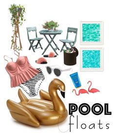 """Soak Up The Sun : Pool Party"" by erliza on Polyvore featuring interior, interiors, interior design, home, home decor, interior decorating, Two's Company, Shiseido, RetroSuperFuture and Keter"