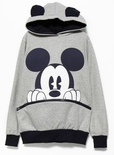2014/08: SHEINSEIDE Grey Black Long Sleeve Mickey Hooded Sweatshirt