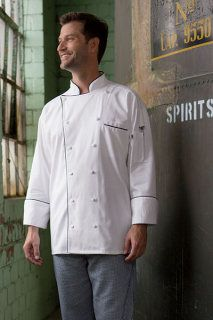 Uncommon 0442C Threads Provence   #chefcoat  Inset pocket, hidden neck button, reversible closure, three-piece executive back, sewn underarm vents, thermometer pocket, finished cuffs and collar, reinforced bar tacking.