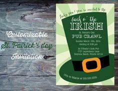 St Patricks Day Party Invitation Printable by FeatheredHeartPrints, $15.00- Leprechaun Top Hat. St Patrick's Day Pub Crawl, Luck of the Irish