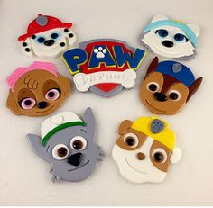 6 Puppy Faces & 1 Paw Patrol Logo Paw by KedulceSugarDesigns