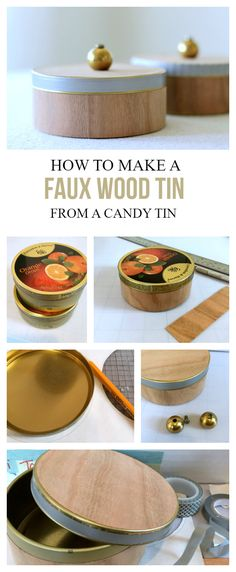 How to make a faux wood tin from a recycled candy tin. Recycled Home Decor, Upcycled Crafts, Glue Crafts, Diy Crafts, Sugar Free Candy, How To Make Diy, Metal Tins, Candy Jars, Craft Gifts