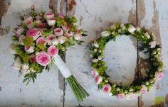 Bouquet de novia y corona para pelo con rosas ramificadas en rosa.Mayula Flores