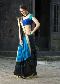 Mix Black with vibrant colors to create a lasting presence with this Handloom Saree Weaved in Silk Fabric for a special occasion - Bworld