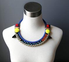 Polka dot chunky rope necklace by TATEROSESHOP on Etsy