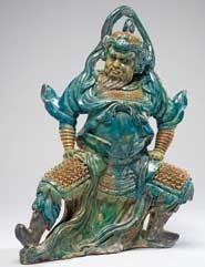 """China , Ming Dynasty, 1368-1644, Roof Tile, 16th century, pottery and glaze, 22 ½ x 17 ½ x 6"""", Acquired through exchange, 92.0010."""
