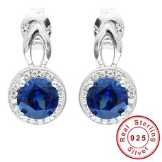 Brand Fashion 2.5ct Blue Sapphire Stud Earrings For Women Real Genuine 925 Sterling Silver Jewelry 2015 New Arrivals Wholesale