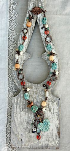 {6th-Bead Soup Blog Party}, Wire work necklace by Cindy Wimmer made with bead soup from the talented Nan Emmett.  #beadsoupblogparty #cindywimmer #sweetbeadstudio