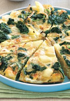 Kale, Onion and Potato Frittata from Self.com. This egg dish is under 450 calories!
