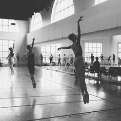 Glissade assemblé, all day.  #bostonballet : Addie Tapp, Ashley Ellis, Brittany Stone