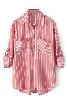 ROMWE | ROMWE Striped Rolled-cuffs Buttoned Red Shirt, The Latest Street Fashion