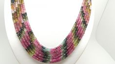 470Crt-Natural-Tourmaline-Strands-Bead-AA-Diamond-Cut-Necklace-5MM-6-Strand gemstone necklace, necklace, tourmaline necklace