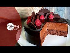How To Make Chocolate Mousse Cake / Mirror Glaze Cake / chocolate Cake / by Michael Lim - YouTube Chocolate Glaze Cake, Chocolate Mirror Glaze, Chocolate Recipes, Mirror Glaze Recipe, Mirror Glaze Cake, Cake Recipes, Snack Recipes, Party Recipes, Bomb Cake