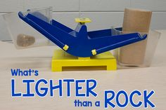 and Comparing Rocks What's Lighter than a Rock? science experiment for preschool kidsWhat's Lighter than a Rock? science experiment for preschool kids Science Experiments For Preschoolers, Preschool Science Activities, Preschool Classroom, In Kindergarten, Toddler Activities, Classroom Ideas, Math For Kids, Science For Kids, Fun Math