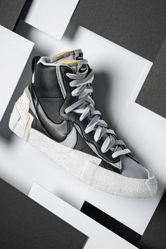 """2019 will be looked back on as the year sacai took over the sneaker game with its """"doubled-up"""" designs like this Nike Blazer Mid. Winter Sneakers, Casual Sneakers, Sneakers Fashion, Casual Shoes, High Top Sneakers, Best Sneakers, Men Casual, Hype Shoes, Men's Shoes"""