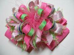 Hair Bow Fruit Punch PINK Explosion Unique Funky FUN Big Over the Top Birthday Party Boutique Toddler Girl Handmade marabou Korkers Princess. $9.00, via Etsy.