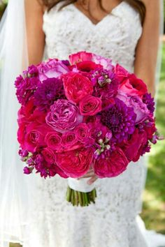 {Fantastic Bouquet Made Up Of Fuchsia David Austin English Garden Roses, Magenta English Roses, Hot Pink Classic Roses, Purple Dahlias, & Purple Stock}