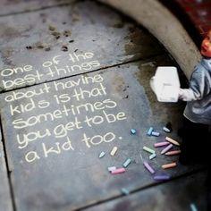 Drawing with sidewalk chalk
