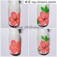Step by Step Summer Nail Art Tutorials for Learners 2019 - Nagel Design 2019 Ideen - Nageldesign Nail Design Spring, Spring Nail Art, Spring Nails, Summer Nails, Summer Design, Flower Nail Designs, Nail Art Designs, Design Art, Hawaiian Flower Nails