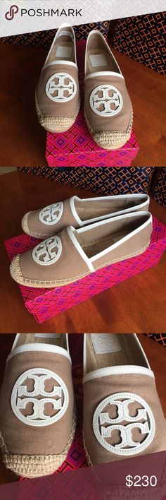 NIB TORY BURCH ESPADRILLES NIB TORY BURCH ANGUS ESPADRILLES! New never worn!! True to size 7.5! Khaki and white! Tory Burch Shoes Espadrilles