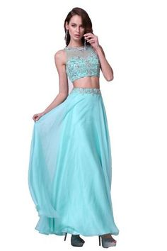 Long Cheap Prom Dress Two Piece Formal Gown - The Dress Outlet - 1