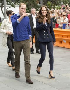 Pin for Later: See All the Duchess of Cambridge's Outfits From the Royal Tour  Arriving in Auckland, Kate wore dark skinny jeans, her beloved Stuart Weitzman wedge shoes, and a navy double-breasted blazer.
