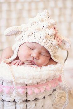 Little lamb bonnet photo prop crochet lamb by CrochetnCoffeeBeans, $18.00