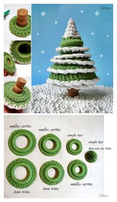 Crochet Christmas tree - easy tutorial (fren) ~ hoping this is a pattern that can be used as a stacking toy! Christmas Makes, Noel Christmas, Christmas Projects, All Things Christmas, Holiday Crafts, Xmas, Christmas Ideas, Crochet Christmas Decorations, Crochet Christmas Ornaments