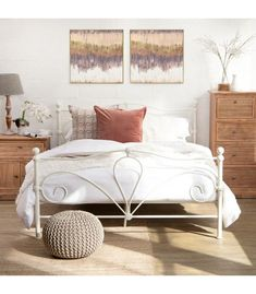 The Mabel metal bed with a white matt finish is absolutely timeless. Available in Double and Queen. Dimensions: Double (L) x (W) x (H)Queen (L) x (W) x (H) Metal Double Bed, White Metal Bed, Double Beds, Wooden Bed Base, Bedroom Sets, Bedroom Decor, Bedrooms, Wrought Iron Bed Frames, Buy Beds Online