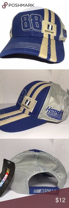 Dale Earnhardt Jr Hat 88 Nationwide Adjustable Great looking new with tags Hendrick Motorsports branded Dale Jr #88 Nationwide Racing hat. Adjustable. Trucker style with mesh back. Has nice blue and gray colors. Hendrick Motorsports Accessories Hats