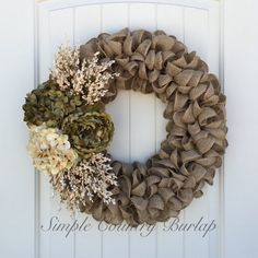 LIMITED QUANTITY- Charming burlap wreath accented with a peony, hydrangea and cream floral spray. Burlap Crafts, Wreath Crafts, Diy Wreath, Tulle Wreath, Wreath Ideas, Deco Mesh Wreaths, Fall Wreaths, Christmas Wreaths, Burlap Wreaths